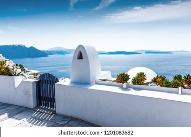 Santorini, Greece. Picturesque details of traditional cycladic Santorini houses on cliff