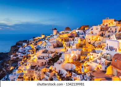 Santorini, Greece. The picturesque Oia village at sunset.