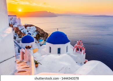 Santorini, Greece. The picturesque Oia village at sunrise.