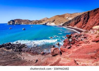 Santorini Red Beach Images Stock Photos Vectors