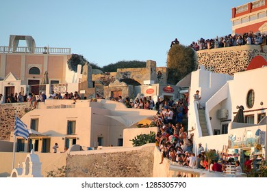 SANTORINI, GREECE, SEPTEMBER 20 2018Tourists from all over the world waiting for the sunset in Oia