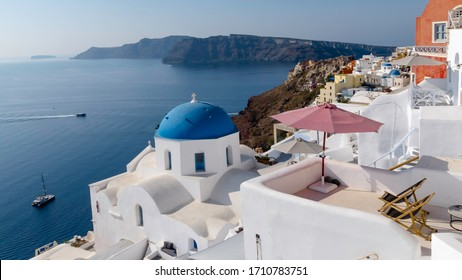 Santorini, Greece, view of the caldera from the village of Oia.