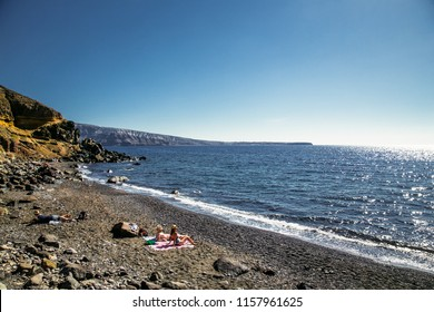 Santorini, Greece-June 12, 2016: Black Katharos Beach on Santorini island, Greece.
