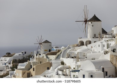 SANTORINI, GREECE-May 15, 2016: Bbeautiful view of Oia and other area, churches, Aegean Sea, blue dome, wind mill at Santorini Island in Greece.