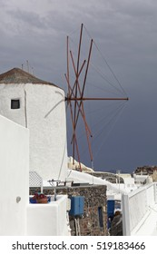 SANTORINI, GREECE-May 15, 2016: Beautiful view of Oia and other area, churches, Aegean Sea, blue dome, wind mill at Santorini Island in Greece.