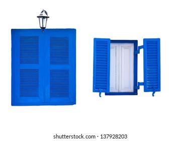 Santorini Greek style blue closed open windows isolated