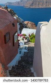 Santorini island. Cycladic arquitecture.Summer in Greece.