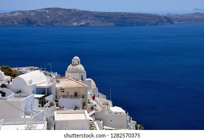 Santorini Island, Greece. White houses and rock of Santorini Island