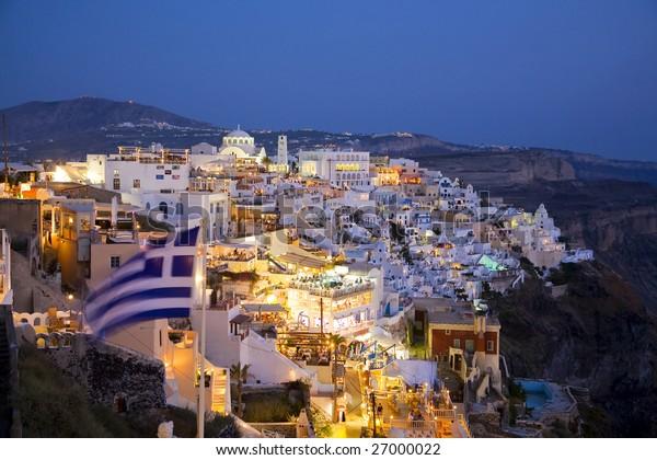 Santorini at Night, Fira the Main Town.