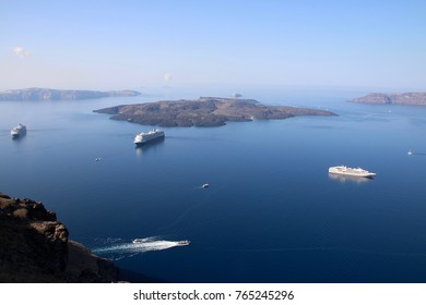 Santorini panorama on the agean sea with blue sky