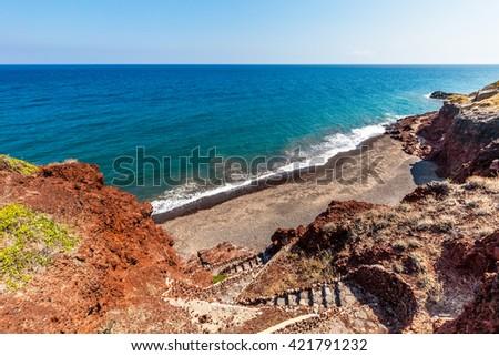 Santorini seacoast and beach