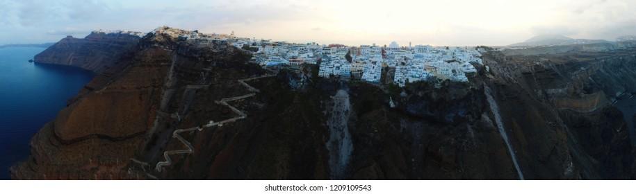 Santorini villages, white houses, caldera, an aerial panoramic photograpy,