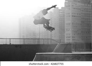 Santos, Brazil. August 2, 2014 Skateboarder jumping in skate park in Santos, Brazil.