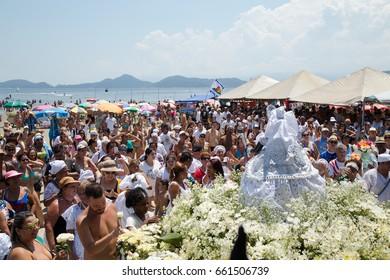 Santos, Brazil. February, 05, 2017: Faithful on commemoration day in honor of Iemanja.