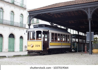 Santos, Brazil. February 18, 2018. The Tram Tourist Line offers a real time travel through 40 points of historical and cultural interest. Departing from the Valongo Station - building of 1867