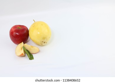 Santos - Brazil, July 18, 2018, Composition of apple fruit and y