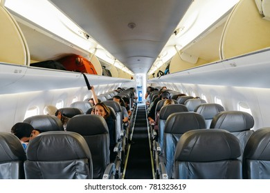 "Santos Dumont Airport, Rio de Janeiro, Brazil - Dec 22, 2017: Inside an airplane belonging to the Brazilian low-cost airliner, ""Azul"""