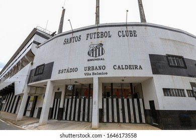 Santos, Sao Paulo state, Brazil - feb 15, 2020 -  Facade of Urbano Caldeira stadium, known as Vila Belmiro. Soccer stadium of Santos FC .