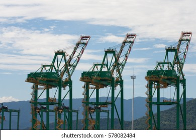 Santos seaport view with three green cranes and blue sky