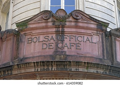 SANTOS, SP, BRAZIL - JULY 18, 2015 - Detail of the facade of the old building of the Exchange Coffee, in Santos, opened in 1922 and currently Coffee Museum