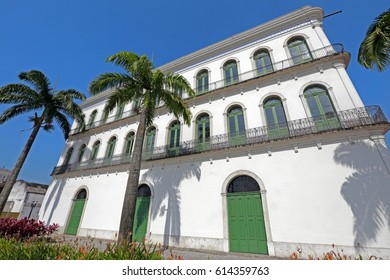 SANTOS, SP, BRAZIL - JULY 18, 2015 - Old mansions of the 19th century, restored to house the Pele Museum, the most respected athlete of all time