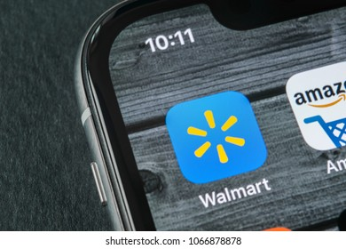 Sant-Petersburg, Russia, April 11, 2018: Walmart application icon on Apple iPhone X screen close-up. Walmart app icon. Walmart.com is multinational retailing corporation