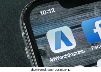 Sant-Petersburg, Russia, April 11, 2018: Google AdWords express application icon on Apple iPhone X screen close-up. Google Ad Words Express icon. Google Adwords application. Social media network