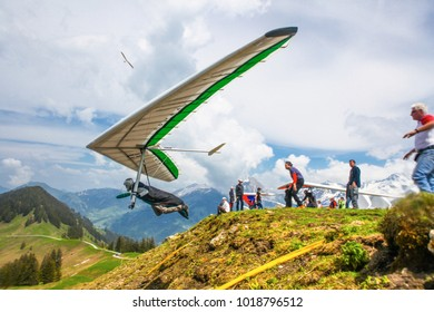SANTS, SWITZERLAND - May 27: Competitor  from Ukriane of the Swiss Masters hang gliding competitions takes part on May 27, 2015 in Sants, Switzerland
