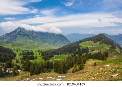 SANTS, SWITZERLAND - May 27: Competitor  from  Austria of the Swiss Masters hang gliding competitions takes part on May 27, 2015 in Sants, Switzerland