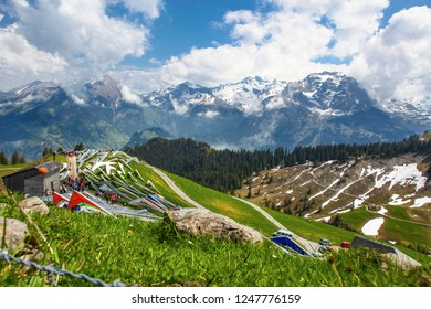 SANTS, SWITZERLAND - May 27: Competitors on the start of the Swiss Masters hang gliding competitions takes part on May 27, 2015 in Sants, Switzerland