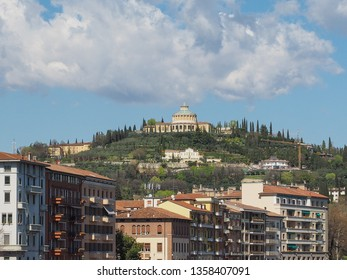 Santuario della Madonna di Lourdes (Our Lady of Lourdes sanctuary) on the hills in Verona, Italy