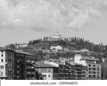 Santuario della Madonna di Lourdes (Our Lady of Lourdes sanctuary) on the hills in Verona, Italy in black and white