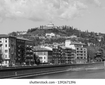 Santuario della Madonna di Lourdes (Our Lady of Lourdes sanctuary) on the hills in Verona, Italy in black and white