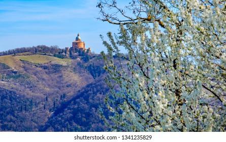 Santuario San Luca A Bologna or Sanctuary of Saint Luke in Bologna - view of the Colli Bolognesi area in spring