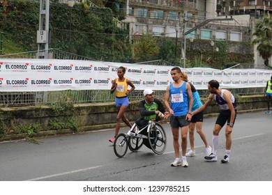 Santurce-Bilbao/Spain-November,25 2018:XXX edition of the  Popular Race Santurce-Bilbao 2018. Sponsored by EL CORREO and organized by the Athletics Club Santurtzi, IMD of Santurtzi and Bilbao Council
