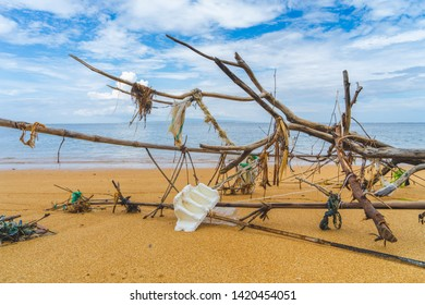 Sanur / Bali April 15th 2019 Litter, Rubbish, Trash left on a Beach in Bali in Indonesia causing serious environmental damage to the planet in need to clean up.