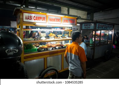 Sanur, Bali / Indonesia - December 28 2017: A food stand at the local night market