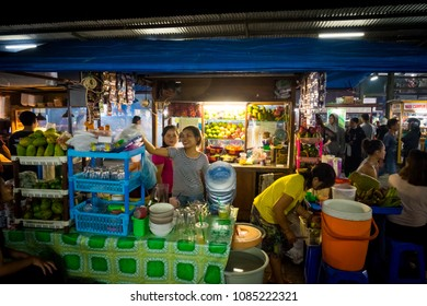 Sanur, Bali / Indonesia - December 28 2017: A fruits stand at the local night market