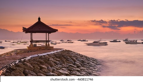 Sanur Beach at sunrise, Bali, Indonesia