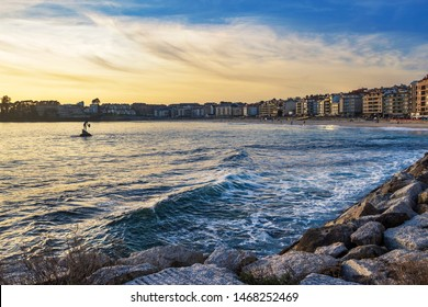 Sanxenxo city seafront along Silgar beach at dusk