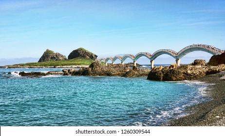 Sanxiantai Dragon Bridge located in Taitung,Taiwan. Sanxiantai means platform of the three immortals.