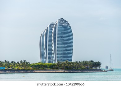 SANYA, CHINA - 21 NOVEMBER 2016: Close view of artificial Phoenix island with its famous skyscrappers in Sanya bay.