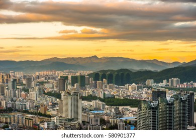 SANYA, CHINA - 21 NOVEMBER 2016: Panoramic view of Sanya city in the evening from Luhuitou Park on Hainan Island of China.