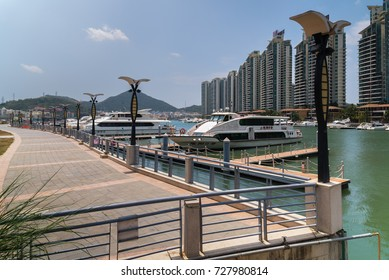 Sanya, China - April 02, 2017: Parking of boats and yachts on the Linchun River in Sanya City, Hainan Island