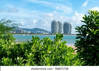 Sanya, China - June 27, 2017: Beautiful Sanya Bay and Phoenix Island, is a landmark Sanya.