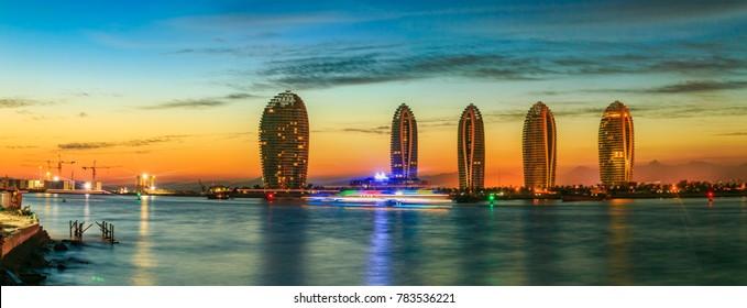 Sanya City, Hainan Province, Phoenix Island urban architecture landscape