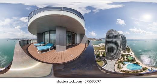 SANYA, HAINAN - CHINA - 12 June 2015: Full 360 equirectangular spherical panorama of luxury hotel. virtual reality content
