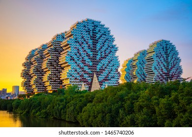 Sanya, Hainan, China - 26.06.2019: Tourist complex Beauty Crown Hotel in Sanya is the largest hotel in the world in Hainan, China