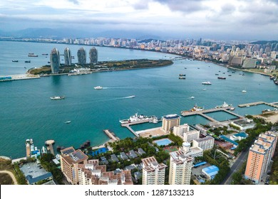 Sanya, Hainan, China - January 5th, 2019: The Phoenix Island located in the southeast part of Sanya Bay is an artificial archipelago consisting of two landmasses forming an island resort in Sanya
