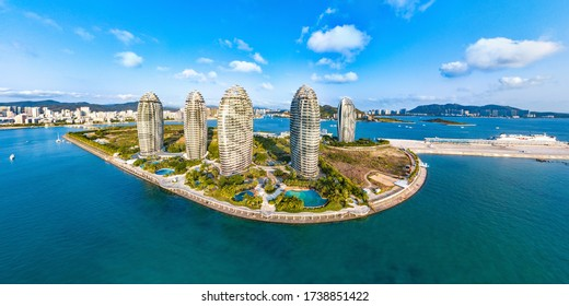 Sanya, Hainan, China - May 4th 2020: Phoenix Island Scenic View with Modern Architecture and Cruise Home Port , an Landmark Artificial Island in Sanya City, a Beautiful Tropical Tourism Destination.